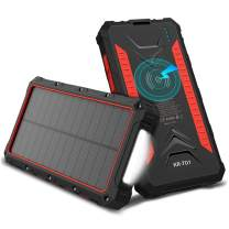 ThunderB 20000mAh Solar Wireless Power Bank Charger - Fast Charging - 4 USB Ports, Wireless Charger - 2 Way Charging - Flashlight - Battery Life Indicator - Accessories Included (Red)