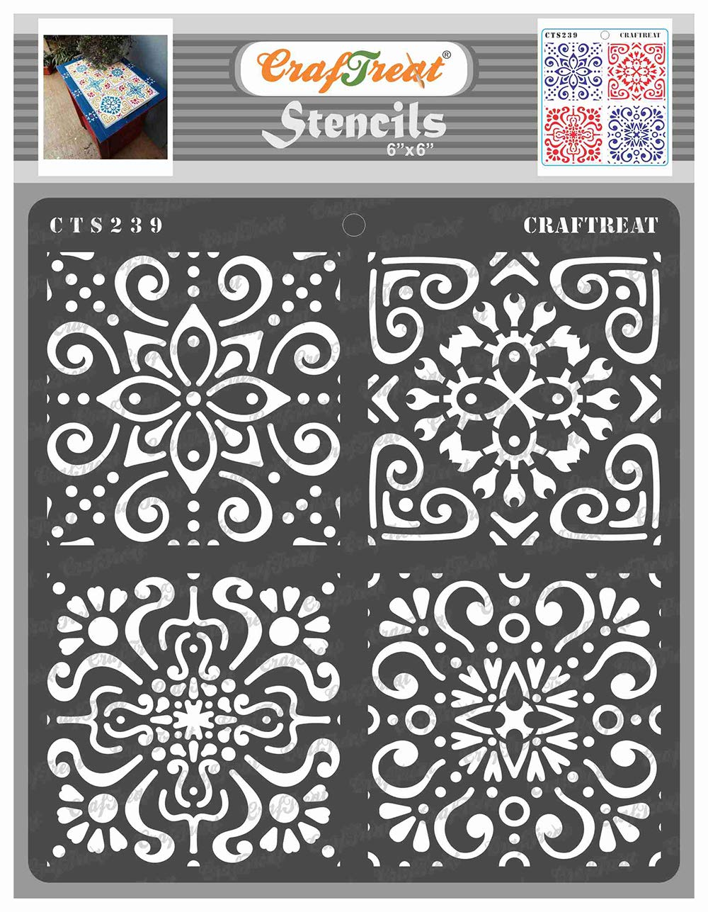 CrafTreat Moroccan Stencils for Painting on Wood, Wall, Tile, Canvas, Paper and Floor - Moroccan Tiles Stencil - 12x12 Inches - Reusable DIY Art and Craft Stencils - Moroccan Tile Wall Decor