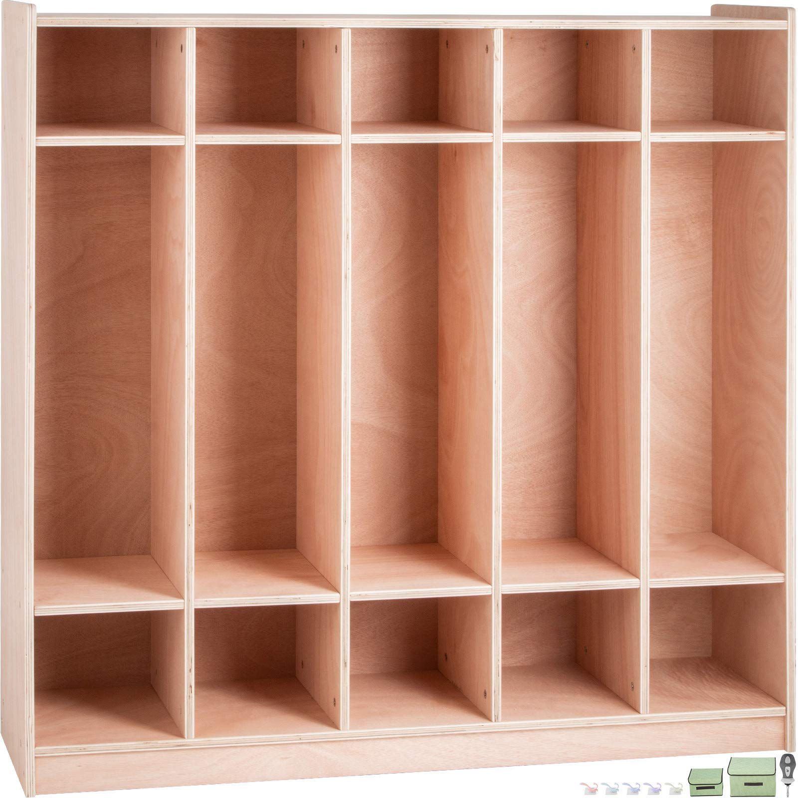 Happybuy Preschool Cubby Lockers 5-Section Plywood Birch Coat Locker 15MM Thickness Kids Locker for Home 48.4 Inch High Durable Classroom Lockers for Toddlers and Kids Commercial or Personal Use