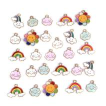 SEVENWELL 27pcs Assorted Enamel Charms,Mixed Colorful Gold Plated Enamel Charms Pendant DIY for Necklace Bracelet Jewelry Making and Crafting Rainbow, Flower, Clouds