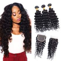 Ali Moda Brazilian Deep Wave 3 Bundles With 4x4 Lace Closure 8A Unprocessed Virgin Hair Deep Curly Hair Weave Human Hair Brazilian Deep Wave Bundles With Closure Natural Color (16 18 20+16)