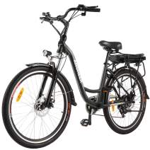 """ANCHEER 26"""" Electric City Bike, Removable 12.5Ah Lithium-ion Battery Pack Integrated with Frame, 35 Miles Range and Dual Disc Brakes Alloy Electric Bicycle"""