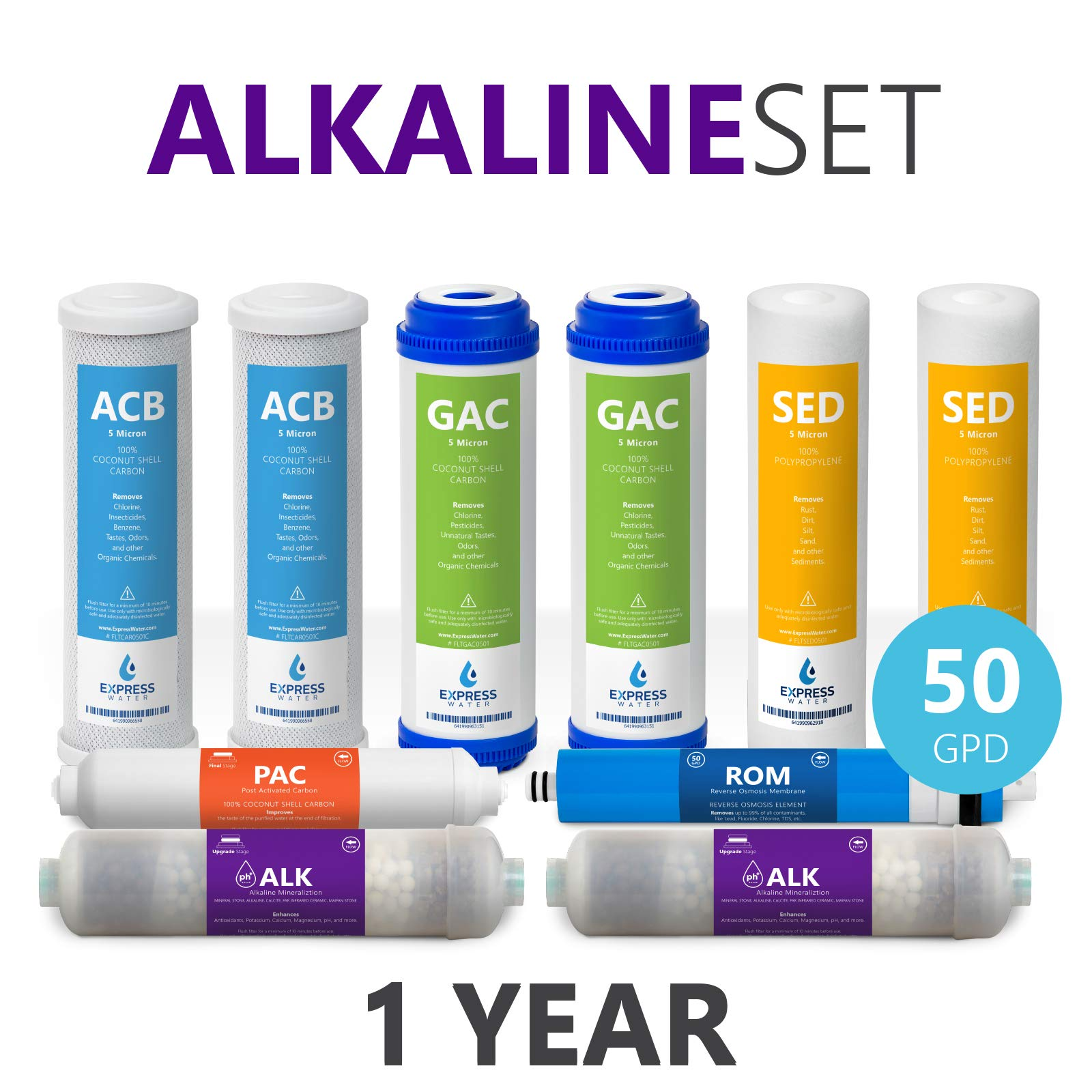 Express Water – 1 Year Alkaline Reverse Osmosis System Replacement Filter Set – 10 Filters with 50 GPD RO Membrane – 10 inch Size Water Filters