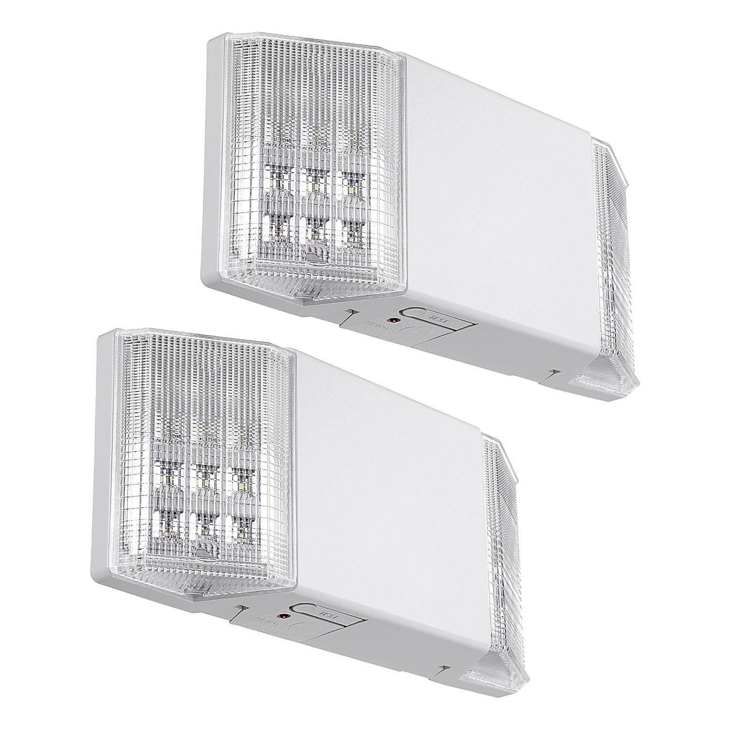 TORCHSTAR LED Emergency Exit Light Fixtures, Two LED Square Heads, with Battery Backup UL-Listed, 120V/277V Input, High Light Blackout Output for Home, Hallways, Corridors, Stairways, White, Pack of 2