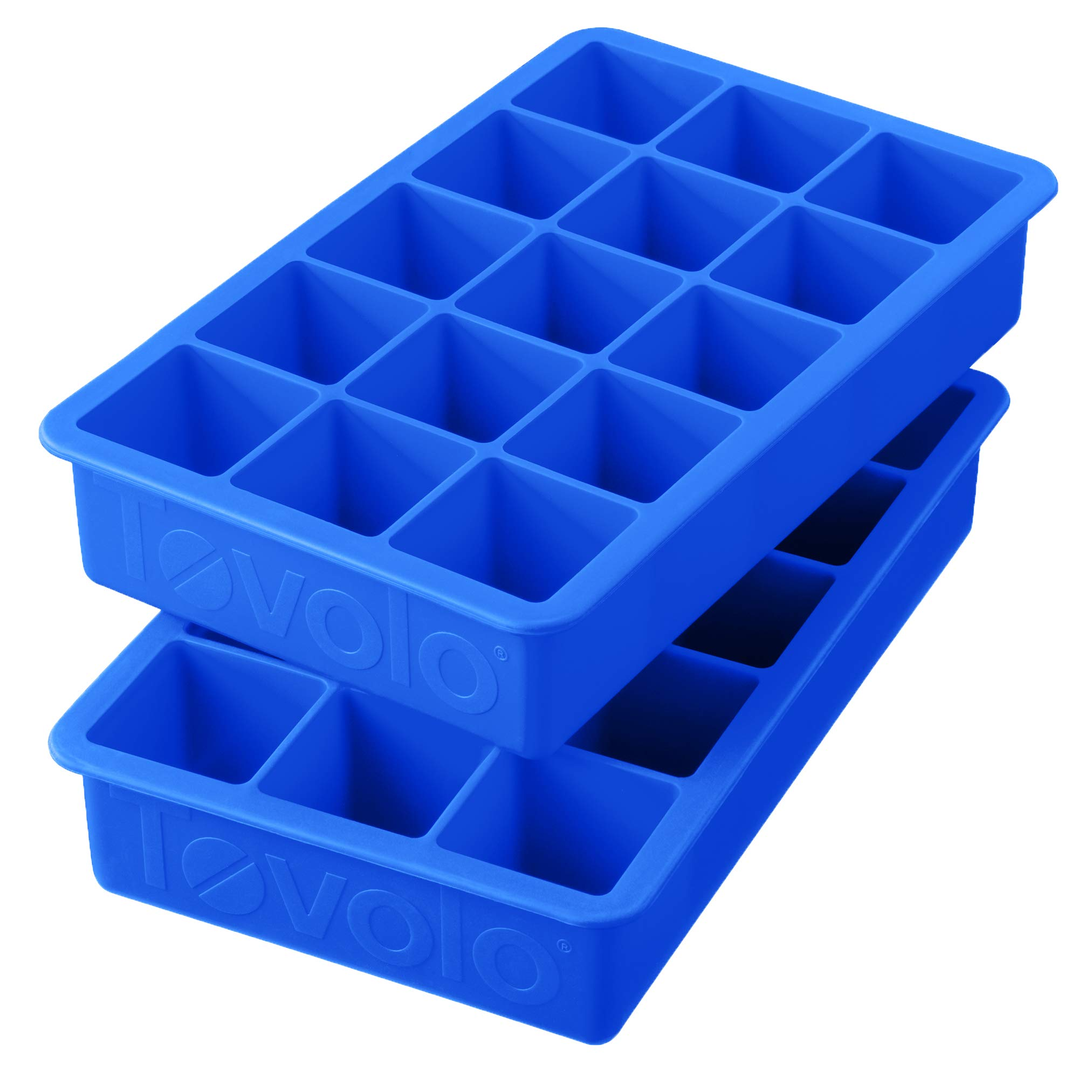 Tovolo Perfect Ice Mold Freezer Tray of 1.25-Inch Cubes for Whiskey, Bourbon, Spirits & Liquor, BPA-Free Silicone, Fade Resistant, Set of 2, Capri Blue