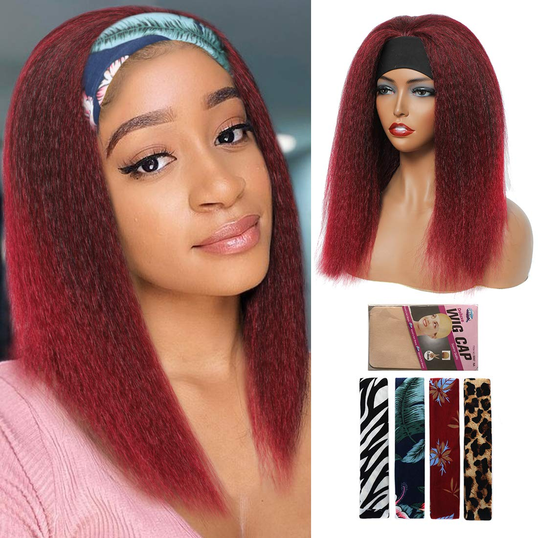 Ombre Kinky Straight Headband Wigs for Women Synthetic 14 inch Headwrap Wigs with Headband Attached Easy to Wear Yaki Wigs for Women Glueless Non Lace Frontal Wig(14 inch, T1B/BUG)