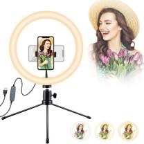 OOTORI 10'' Ring Light LED Desk Selfie Ring Light USB Ringlight with Tripod Stand & Phone Holder, YouTube Equipment for YouTube Video/Live Stream/Makeup/Photography, Compatible with iPhone/Android