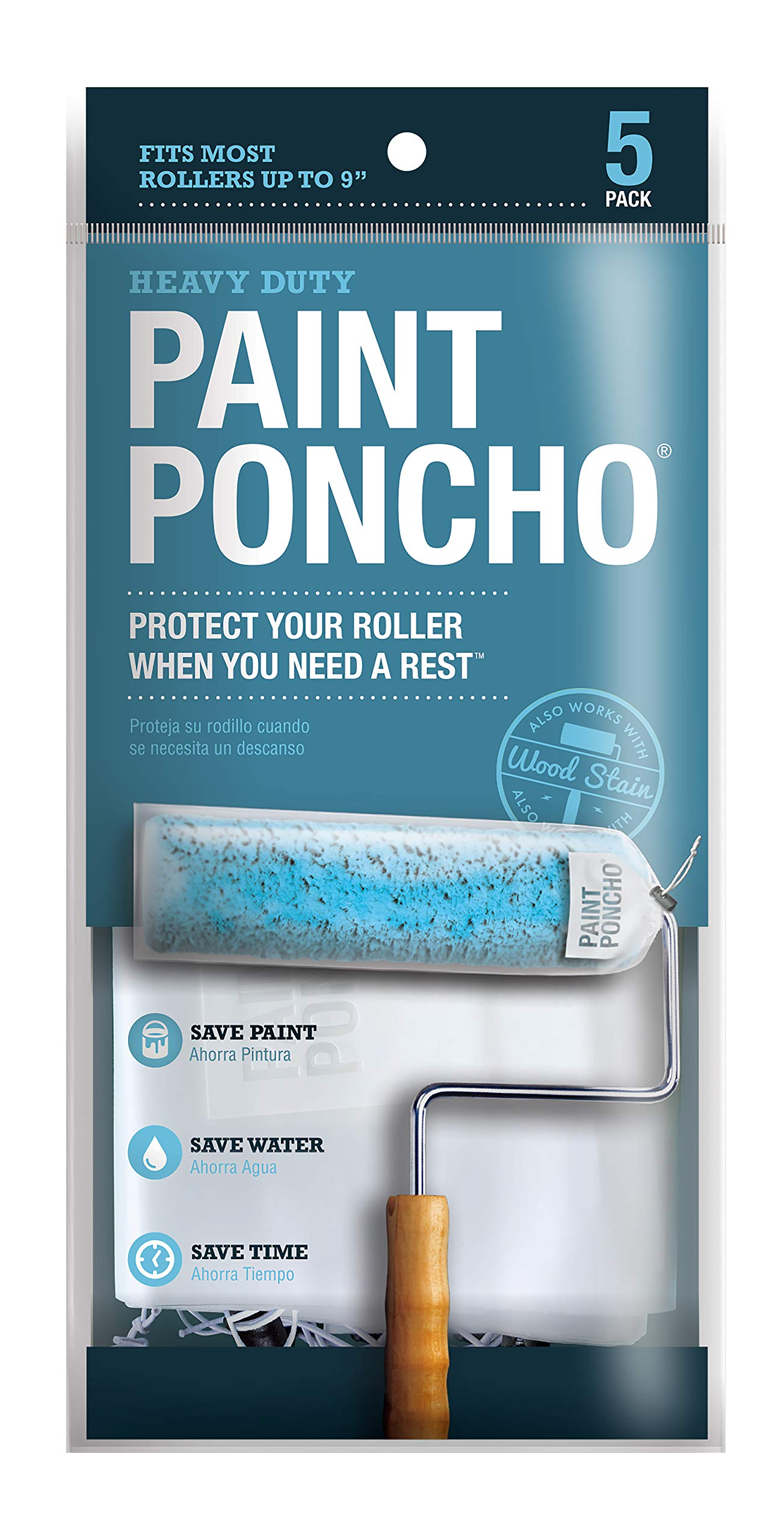 """Paint Poncho Wet Roller/Paint Brush Covers 5 Pack Fits up to 9"""" Roller"""