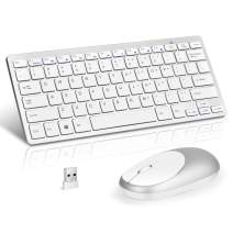 Loreran Ultra-Thin 2.4G Wireless Keyboard and Mouse Combo Chiclet Keyboard with Scissor Mechanism Keycap and Nano Receiver for PC Laptop Computer Smart TV Tablet, White