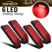"Partsam 4Pcs 4"" Inch Thin Led Utility Strip Bar Lights Red 6 Diodes Waterproof Surface Mount Boat Marine Led Lights Universal Deck Stair Garden Lighting Sealed 12V Interior Exterior Use"