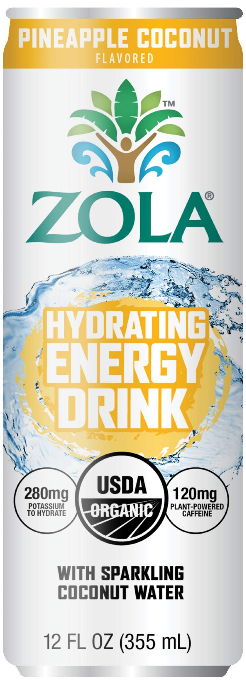 Zola Organic Hydrating Energy Drink, Pineapple Coconut, 12 Ounce (Pack of 12)