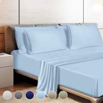 "Leafbay Full Bed Sheets Set - 4 Piece Super Soft Microfiber Bed Sheets 1800 TC with 16"" Deep Pocket, Wrinkle Resistant and Unfading Bedding Set - Lake Blue"