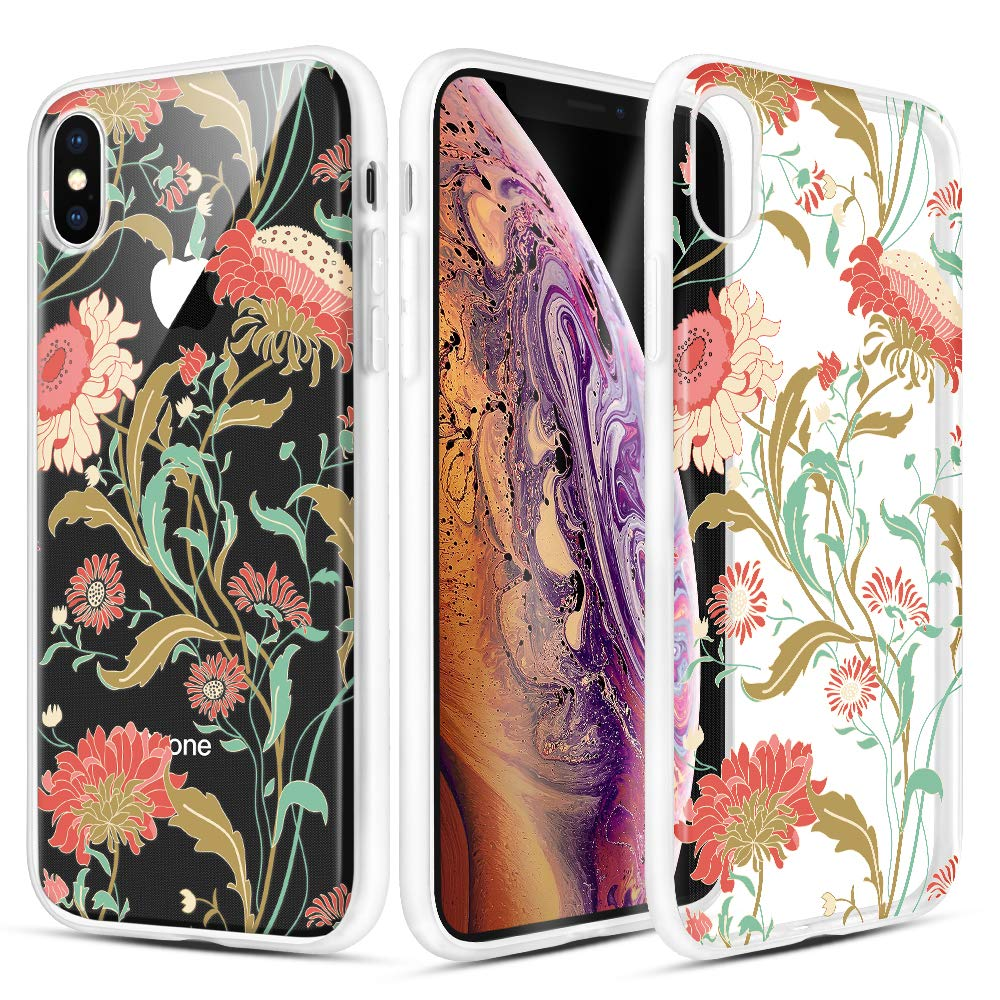 Caka iPhone X Case, iPhone Xs Clear Floral Case Flower Pattern Vine Floral Series Slim Girly Anti Scratch Excellent Grip Premium Clarity TPU Crystal Case for iPhone X Xs 5.8 inch (Sunflower Vine)