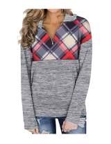 Viracy Women Quarter Zip Color Block Pullover Sweatshirt Tops with Pockets