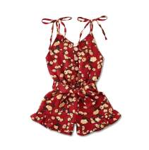 Toddler Baby Girl Short Jumpsuit Self Tie Floral Romper Halter Sleeveless One-Pieces Summer Outfit