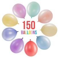 Prextex 150 Pastel Party Balloons 12 Inch 10 Assorted Rainbow Candy Colors - Bulk Pack of Strong Latex Macaron Balloons for Party Decorations, Birthday Parties Supplies or Arch Decor - Helium Quality