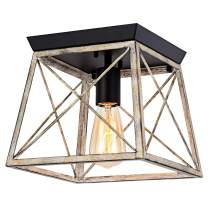 Pauwer Industrial Flush Mount Ceiling Light Farmhouse Rustic Metal Cage Close to Ceiling Lighting Fixture Faux Wood Paint