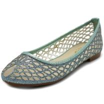 Ollio Women's Shoe Mesh Glitter Comfort Ballet Flat