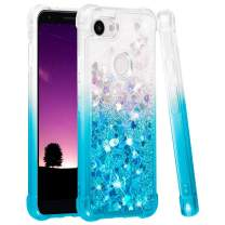 Ruky Google Pixel 3a Case, Gradient Quicksand Series Glitter Bling Flowing Liquid Floating Soft TPU Bumper Cushion Protective Women Girls Phone Case for Google Pixel 3a, Gradient Teal