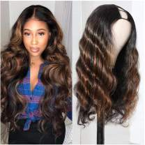 """Beauty Forever T30 Ombre Colored 2""""x4"""" U Part Wig Body Wave Human Hair Wigs for Women ,Brazilian Human Hair Glueless Full Head Clip in Half Wig 150% Density Middle Part 24 Inch"""