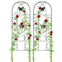 """Amagabeli Garden Trellis for Climbing Plants 60"""" x 18"""" Rustproof Black Iron Butterfly Potted Vegetables Flowers Patio Metal Lattices Grid Panels for Ivy Roses Cucumbers Clematis Supports 2 Pack GT04"""