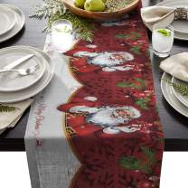 Winter Holiday Long Table Runner 18x72 Inch, Christmas Santa Clause Linen Burlap Table Cloth Runner for Kitchen Wedding Holiday Parties Events Decoration