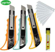 WEKOIL Utility Knives Retractable Box Cutter Pack 3,18mm Wide Snap Off Blade Knife,Extra 10 Carbon Steel Blades,Hobby Art Paper Knives with Comfortable Handle,Heavy Duty for Office Home Warehouse