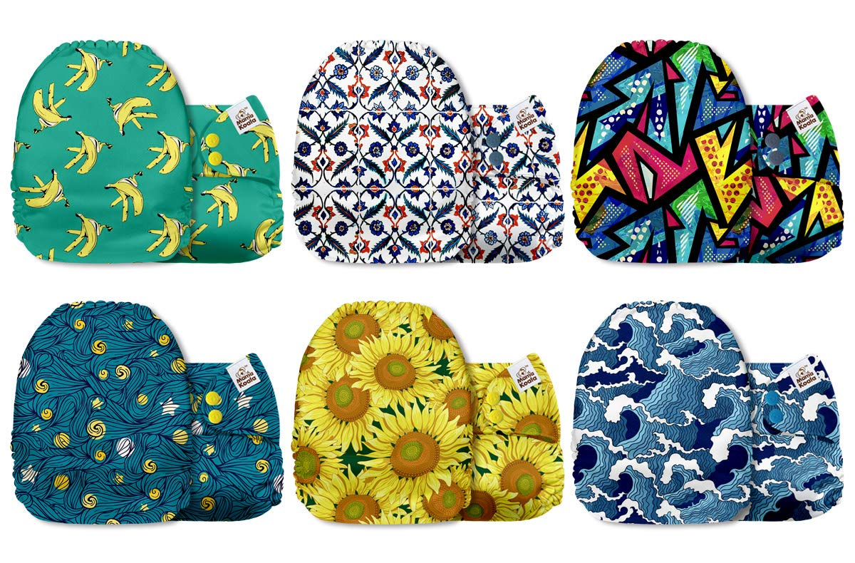 Mama Koala One Size Baby Washable Reusable Pocket Cloth Diapers, 6 Pack with 6 One Size Microfiber Inserts (Inspiration)