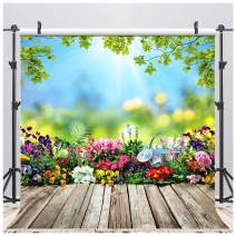 AIIKES 8x8FT Spring Flowers Photography Backdrop Vinyl Leaves Wooden Floor Easter Photography Background Newborn Children Baby Birthday Party Decoration for Photo Studio 11-452