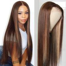 Beauty Forever 13x4 Hand Tied Lace Front Wigs Free Part Straight Human Hair, 20inch Highlight Color D4/27 Lace Wigs 150% Density (20inch, 13x4 straight D4/27)