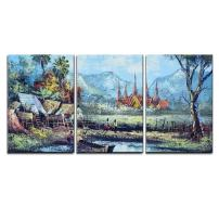 """wall26 - 3 Piece Canvas Wall Art - Original Oil Painting on Canvas - Waterside Life in Thailand - Modern Home Decor Stretched and Framed Ready to Hang - 16""""x24""""x3 Panels"""