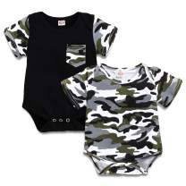 DEFAHN Baby Boys Girls Short Sleeve Bodysuit Camouflage Cotton One-Piece Jumpsuit Infant Clothes Outfit