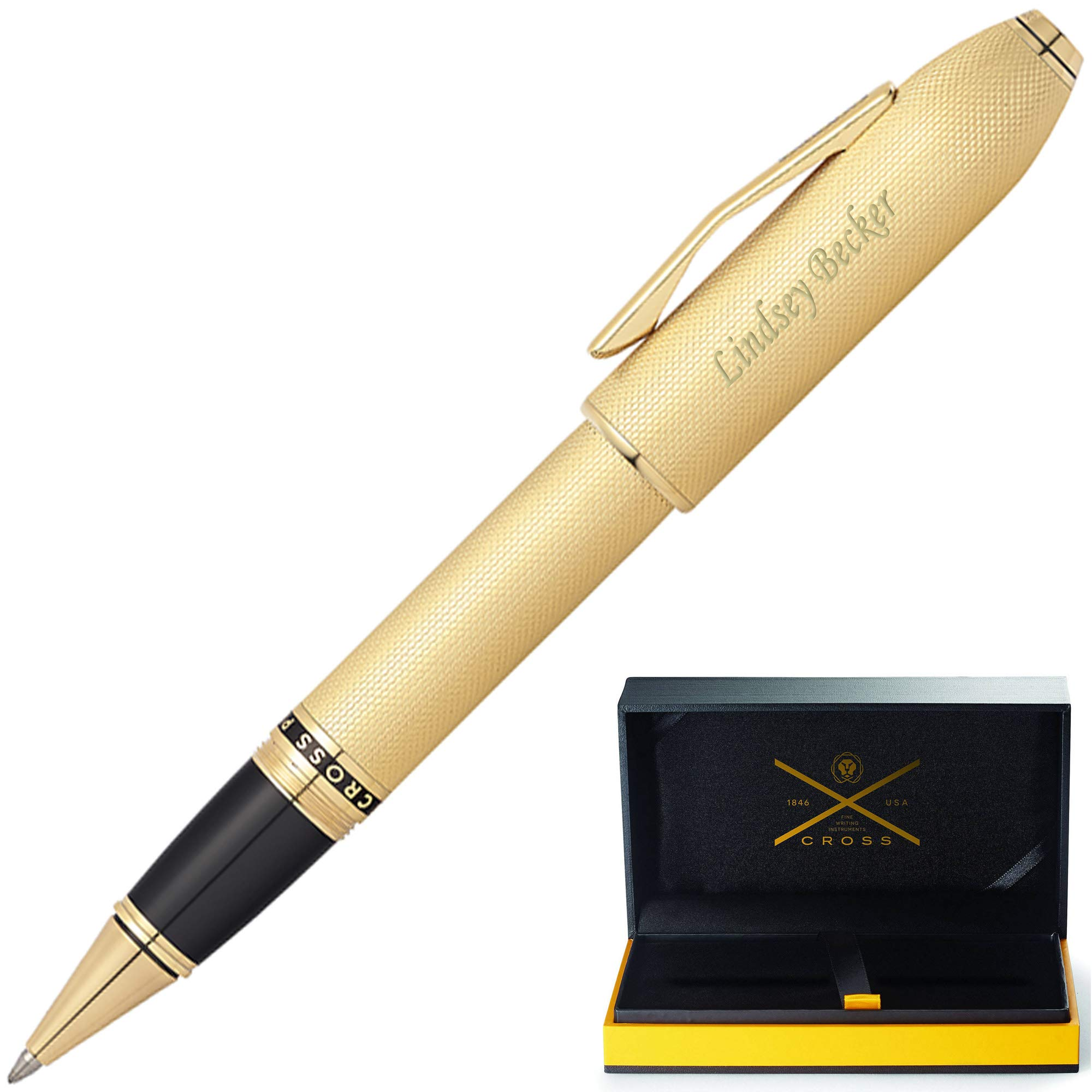 Engraved Cross Peerless 125 Rollerball Pen - 23K Gold Plated. Custom Engraving by Dayspring Pens. Included! Comes in Cross Gift Box.