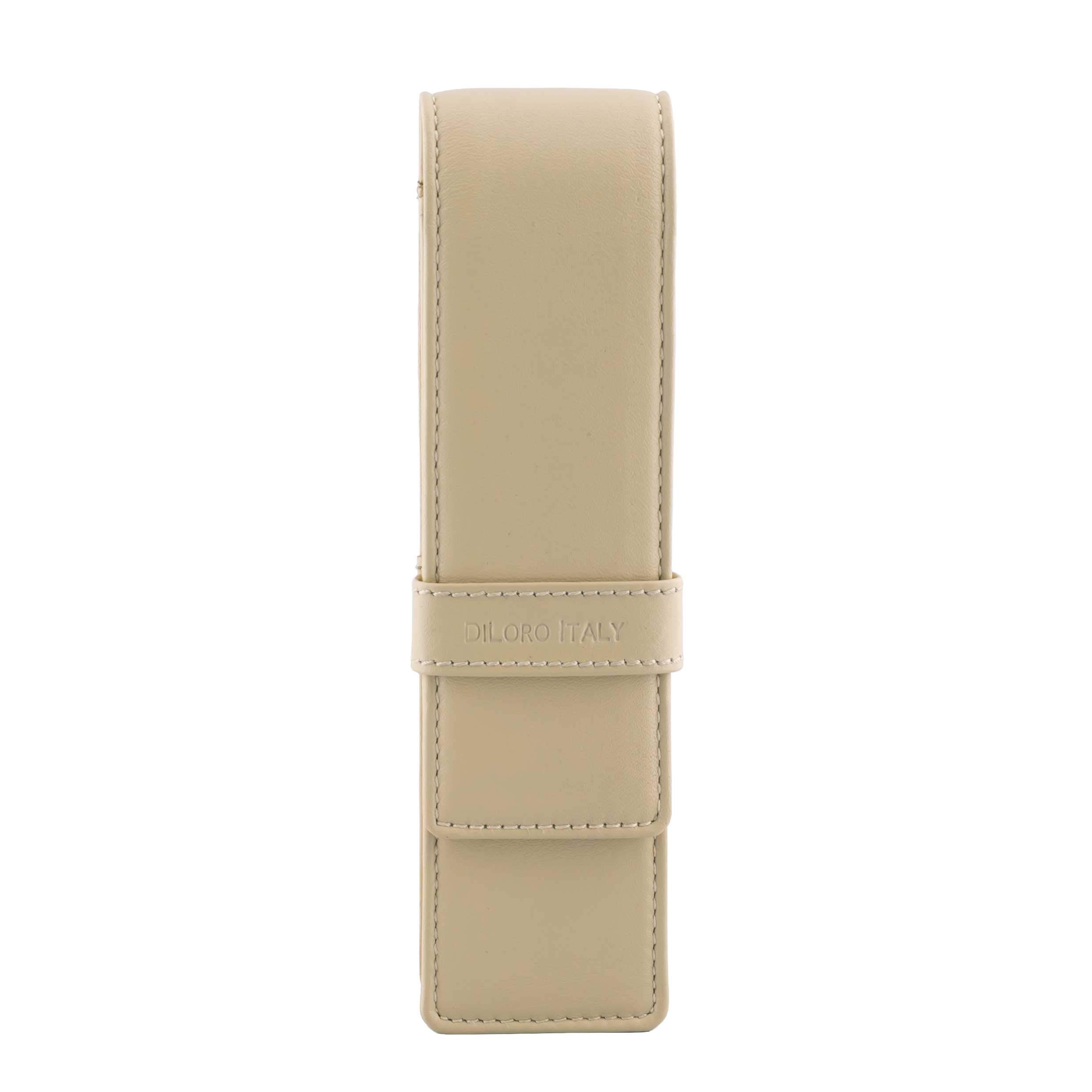 DiLoro Leather Pen Case Pouch Holder for Two Fountain Pens Ballpoint Rollerball Pen or Pencils (Beige)