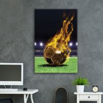 wall26 - Canvas Wall Art Sports Theme - Golden Soccer Fire on The Soccer Court - Giclee Print Gallery Wrap Modern Home Decor Ready to Hang - 32x48 inches