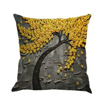 MHB Oil Painting Black Large Tree and Yellow Flower Cotton Linen Throw Pillow Covers 15% Cotton and 85% Polyester Pillowcase 18 x18 Inch (Grey)