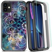 COOLQO Compatible for iPhone 11 Case, 360 Full Body Coverage Hard PC+Soft Silicone TPU 3in1 Shockproof Phone Cover [Certified Military Protective] with [2 x Tempered Glass Screen Protector]-Mandala