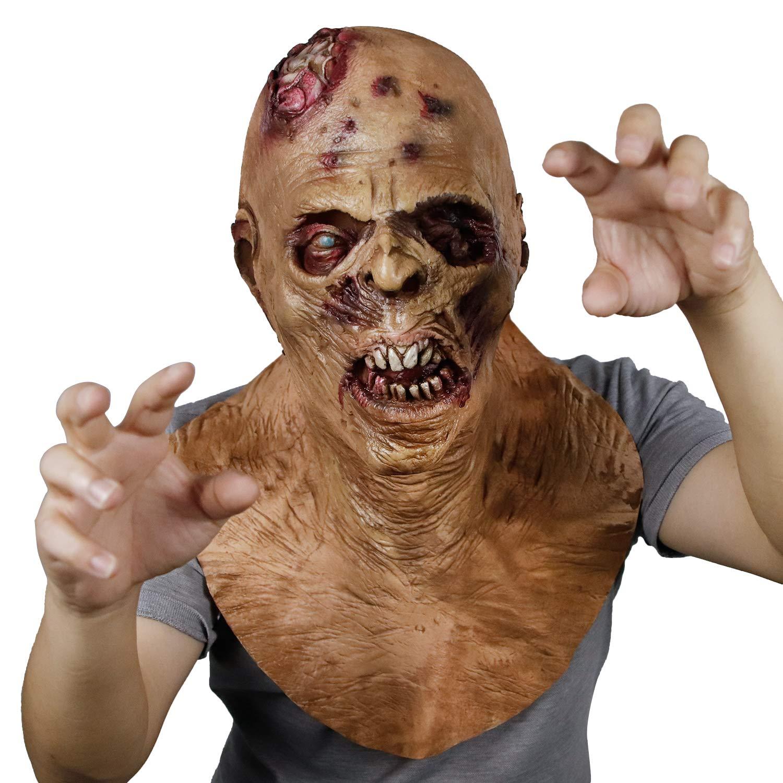Demi Sharky Scary Walking Mask Dead Prop Creepy Costume Latex Head Mask Halloween Prop