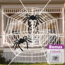 Pawliss Halloween Decorations, 11.8 feet Giant Round Spider Web with 2 Pack 30 inches Spiders Set, Halloween Outdoor Yard Decor, White