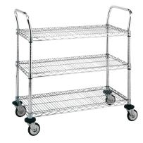 """Metro MW704 MW Series Stainless Steel Wire Utility Cart, 3 Shelves, 375 lbs Capacity, 30"""" Length x 18"""" Width x 38"""" Height"""