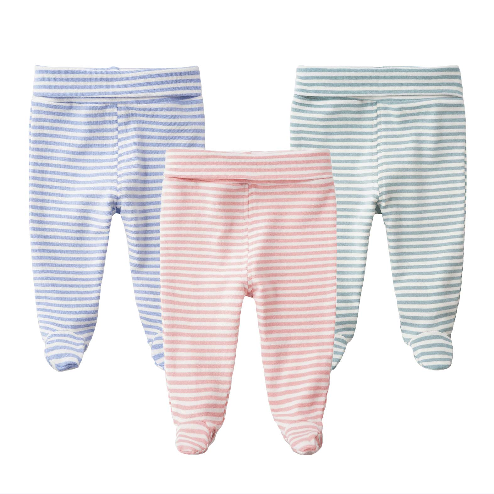 Teach Leanbh Infant Baby Cotton High Waist Footed Pants Casual Leggings 0-12 Months (0-3 Months, C)