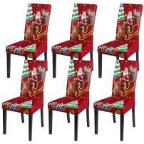 SearchI Christmas Chair Covers for Dining Room Set of 6, Spandex Fabric Fit Stretch Removable Washable Kitchen Parsons Chair Covers Protector for Dining Room, Christmas Decor