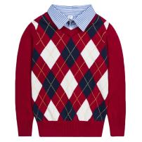 Benito & Benita Boys Argyle Pullover Sweater Shirt Collar Uniform Tops Button Up