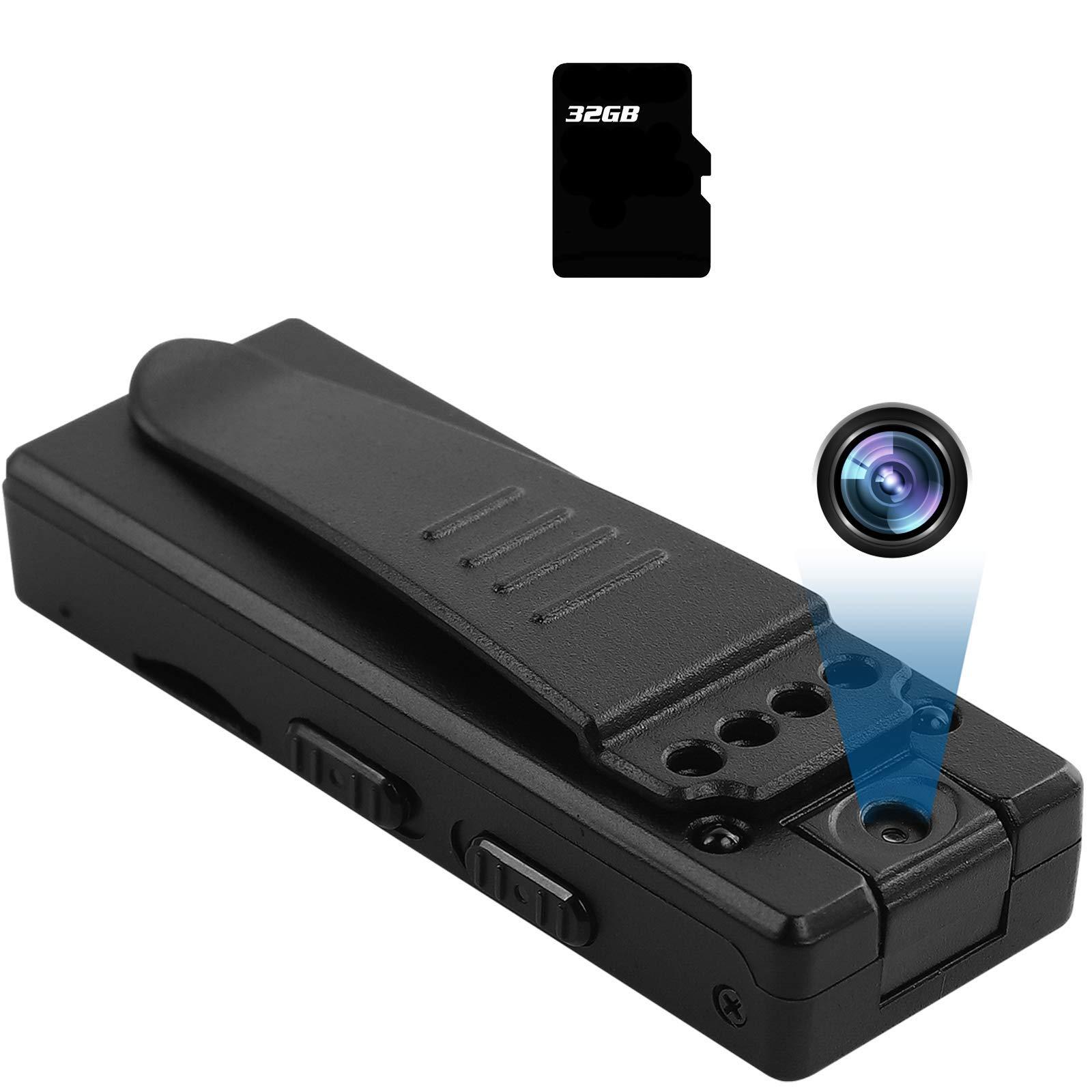 ATONGMU 1080P Rotatable Lens Mini Body Camera Clip Wearable Security Cameras Portable Pocket Cam Video Recorder Small Sport DV DVR Dash Camera for Car Bike Home Office (with 32G Card) M12-TFCA_01