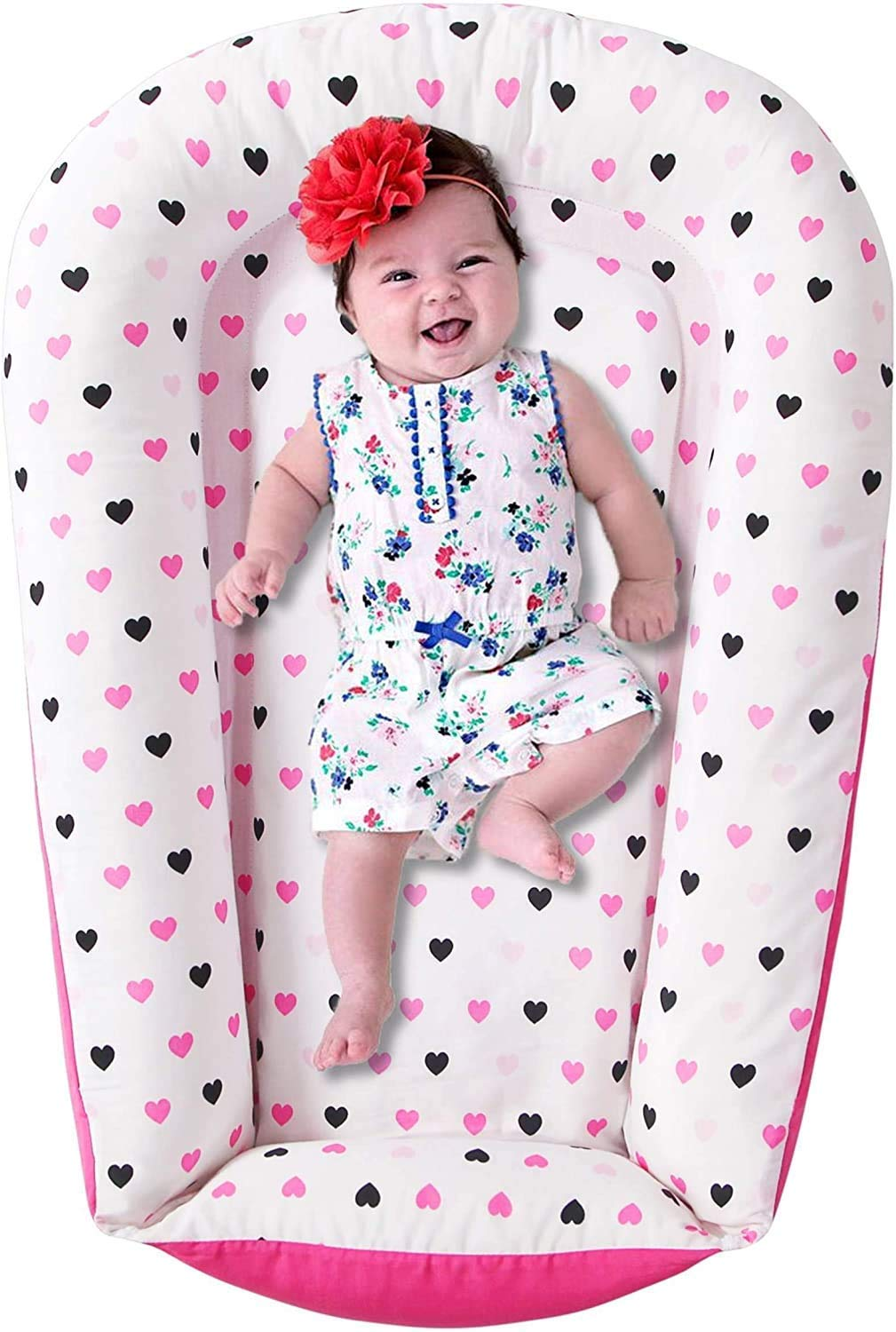 Little Grape Land Baby Nest Baby Lounger - Soft Newborn Lounger Made of Durable Cotton Fabric - Portable for Travelling, Pink Hearts