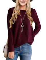 MEROKEETY Women's Long Sleeve Waffle Knit Sweater Crew Neck Solid Color Pullover Jumper Tops