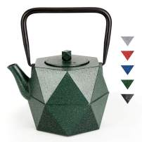 Teapot, TOPTIER Japanese Cast Iron Teapot, Cast Iron Tea Kettle with Stainless Steel Infuser for Loose Tea, Diamond Design Teapot Coated with Enameled Interior for 30 oz, Bling Bling Green