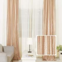 TRLYC 4 Piece Sparkly Sequin Fabric Window Curtains/Drape/Panels/Window Treatment Sets 2x8FT (Champagne)