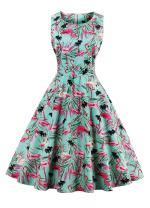 Wicky LS Women's 1950s Vintage Retro Sleeveless Tea Dress Multicolors(XL, Red-Crowned Crane)
