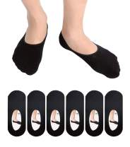 6 Pack Mens No Show Socks Casual Low Cut Thin Loafers Non Slip Boat Liners